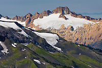 Twin Sisters Mountain, 7020feet (2140m) in the North Cascades. This mountain is a massive and rare occurence of Dunite rock (peridotite rock from the Earth's mantle) uplifted to the Earth's surface. Mount Baker Wilderness Washington USA
