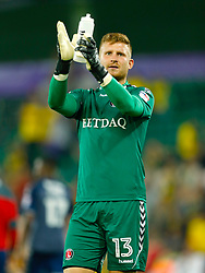 Charlton Athletic goalkeeper Dillon Phillips applauds the fans after the final whistle