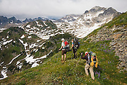 Climbers hike through alpine meadows above White Pass enroute to Glacier Peak, Glacier Peak Wilderness, Washington.