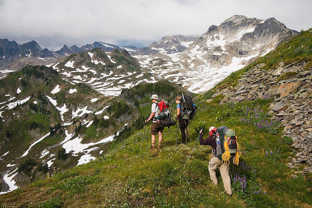 Climbers hike through alpine meadows above White Pass enroute to Glacier Peak, Glacier Peak Wilderness, Washington.