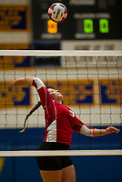 Laconia's Hannah Dow goes up for a spike during NHIAA Division II Volleyball with Gilford on Saturday evening.  (Karen Bobotas/for the Laconia Daily Sun)