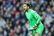 Ben Foster, the West Bromwich Albion goalkeeper shouts instructions. Premier league match, West Bromwich Albion v Tottenham Hotspur at the Hawthorns stadium in West Bromwich, Midlands on Saturday 15th October 2016. pic by Andrew Orchard, Andrew Orchard sports photography.