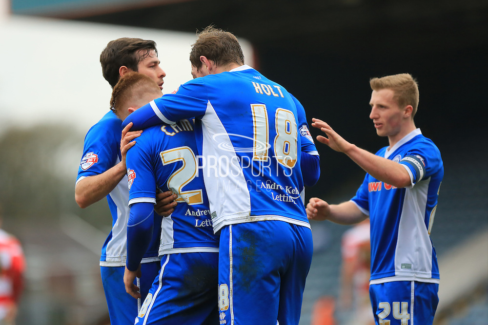 Callum Camps goal celebrations 1-0 during the Sky Bet League 1 match between Rochdale and Doncaster Rovers at Spotland, Rochdale, England on 2 April 2016. Photo by Daniel Youngs.