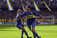 Fotball<br /> Argentina 2003/2004<br /> Foto: Digitalsport<br /> Norway Only<br /> <br /> Boca v Chacarita 31.08.2003<br /> The match was suspended by serious incidents and violence<br /> Carlos Tevez is celebrating a goal