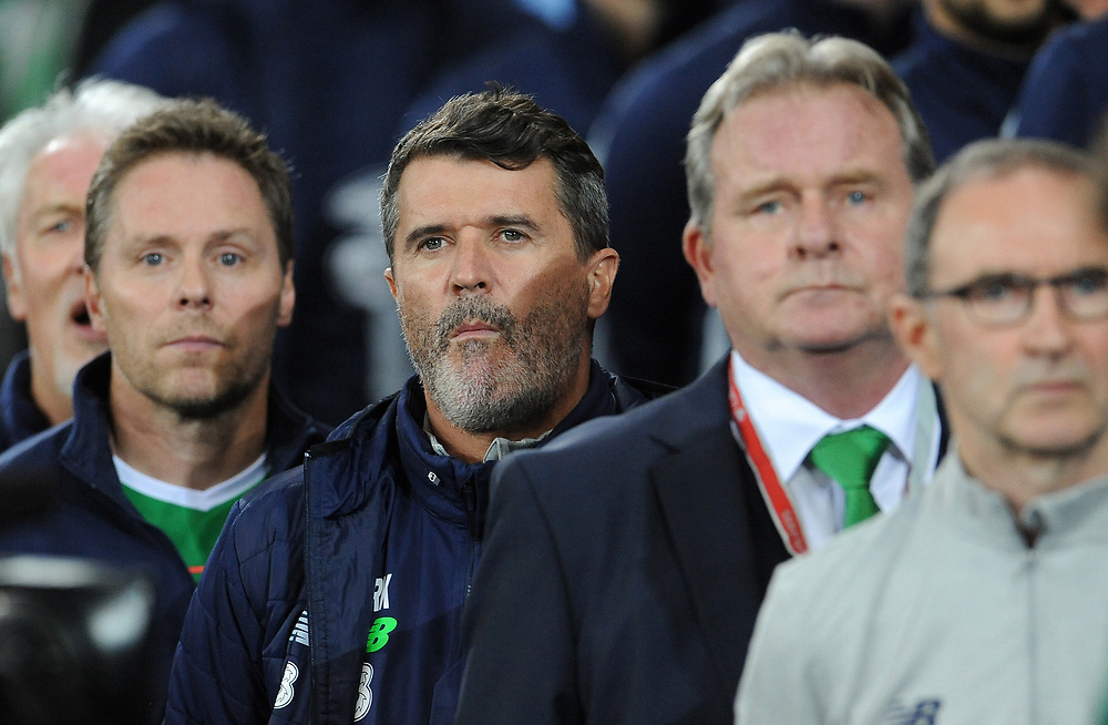 Ireland's Roy Keane during the anthems <br /> <br /> Photographer Ian Cook/CameraSport<br /> <br /> FIFA World Cup Qualifying - European Region - Group D - Wales v Republic of Ireland - Monday 9th October 2017 - Cardiff City Stadium - Cardiff<br /> <br /> World Copyright © 2017 CameraSport. All rights reserved. 43 Linden Ave. Countesthorpe. Leicester. England. LE8 5PG - Tel: +44 (0) 116 277 4147 - admin@camerasport.com - www.camerasport.com