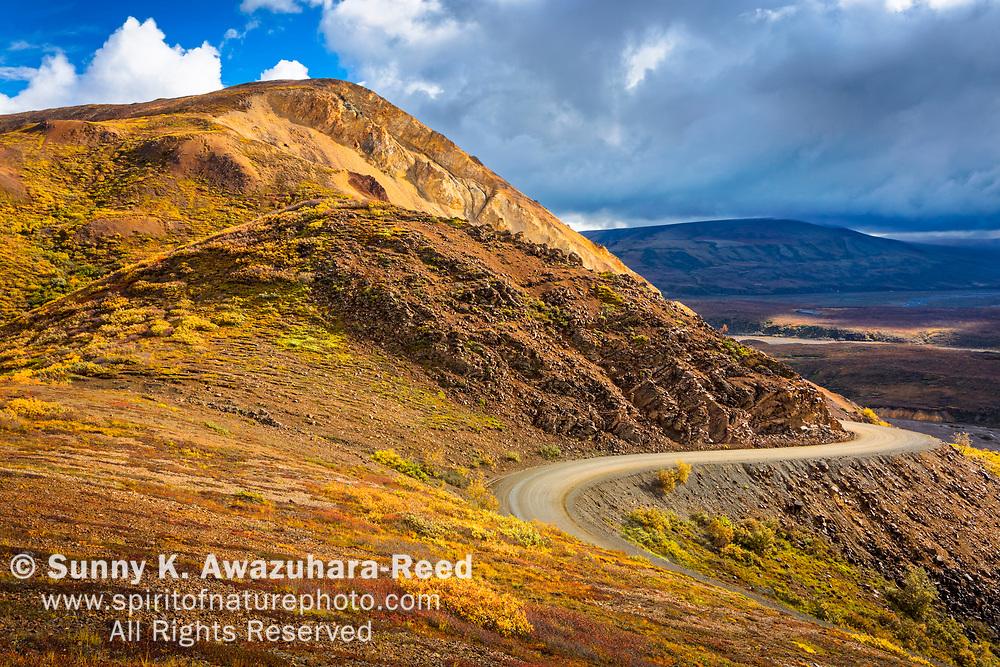 Park Road along Polychrome Pass with fall color tundra. Denali National Park & Preserve, Interior Alaska, Autumn.