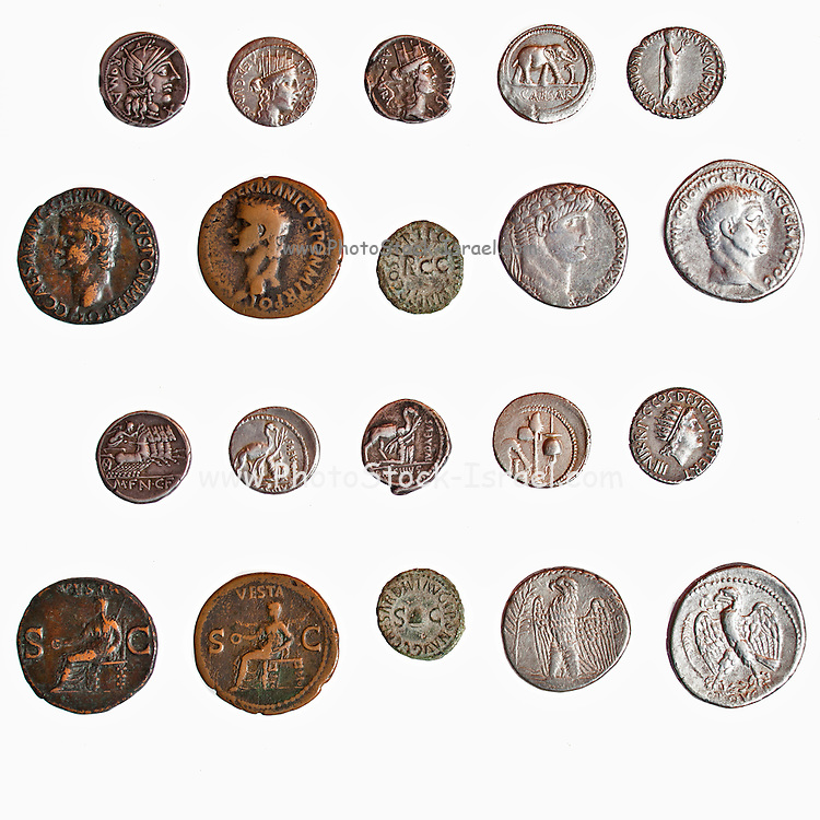 Assortment of Ancient Roman Coins 1st century BCE both sides depicted here (private collection)