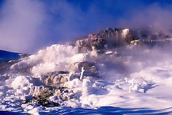 Wyoming: Yellowstone National Park.  Mammoth Hot Springs terracs in winter.  Photo #: wyyelw103..Photo copyright Lee Foster, 510/549-2202, lee@fostertravel.com, www.fostertravel.com