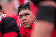 Community College of San Francisco outside lineman Daniel Sulunga-Kahaialii (71) hangs out on the sideline during a game against College of Siskiyous at Community College of San Francisco in San Francisco, Calif., on September 10, 2016. (Stan Olszewski/Special to S.F. Examiner)