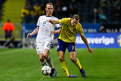 November 21, 2018 - Stockholm, Sweden - Viktor Claesson (R) of Sweden gets an injury while battling for the ball with Vladislav Ignatyev of Russia during the UEFA Nations League B Group 2 match between Sweden and Russia on November 20, 2018 at Friends Arena in Stockholm, Sweden. (Credit Image: © Mike Kireev/NurPhoto via ZUMA Press)
