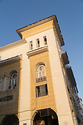 Low angle view of architectural detail with windows in Casablanca, Morocco