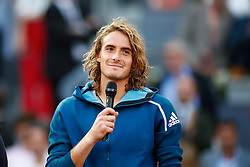 May 12, 2019 - Madrid, MADRID, SPAIN - Stefanos Tsitsipas (GRE) during the Mutua Madrid Open 2019, Final round, (ATP Masters 1000 and WTA Premier) tenis tournament at Caja Magica in Madrid, Spain, on May 12, 2019. (Credit Image: © AFP7 via ZUMA Wire)