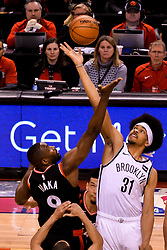 February 11, 2019 - Toronto, Ontario, Canada - Serge Ibaka #9 of the Toronto Raptors and Jarrett Allen #31 of the Brooklyn Nets fight for the first ball during the Toronto Raptors vs Brooklyn Nets NBA regular season game at Scotiabank Arena on February 11, 2019, in Toronto, Canada (Toronto Raptors win 127-125) (Credit Image: © Anatoliy Cherkasov/NurPhoto via ZUMA Press)