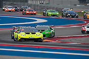 September 16-18, 2015 Lamborghini Super Trofeo, Circuit of the Americas: Start of round 8 from Circuit of the Americas, #50 Richard Antinucci, Edoardo Piscopo, O'Gara Motorsport leads the field through the esses