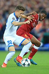 23rd August 2017 - UEFA Champions League - Play-Off (2nd Leg) - Liverpool v 1899 Hoffenheim - Dennis Geiger of Hoffenheim battles with Georginio Wijnaldum of Liverpool - Photo: Simon Stacpoole / Offside.