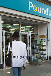 Lance enters Poundland where he was able to purchase a knife with no questions asked in an exercise where the 17-year-old visited numerous big brand shops on Streatham High Road in an attempt to purchase a knife to illustrate the extent of knife control and age checking in London stores. Streatham, London, August 30 2019.