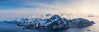Panoramic view of Flakstadoy and Nappstraumen from summit of Offersoykammen, Lofoten Islands, norway