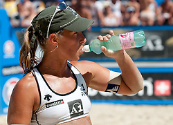 Sara Montagnolli of Austria drinking water at A1 Beach Volleyball Grand Slam tournament of Swatch FIVB World Tour 2010, for bronze medal, on July 31, 2010 in Klagenfurt, Austria. (Photo by Matic Klansek Velej / Sportida)