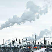 An oil refinery in Edmonton, Alberta, Canada on a winter day.
