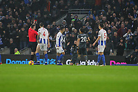 Football - 2018 / 2019 Premier League - Brighton and Hove Albion vs. Leicester City<br /> <br /> James Maddison of Leicester City receives a red card from Referee Mr Christopher Kavanagh at The Amex Stadium Brighton <br /> <br /> COLORSPORT/SHAUN BOGGUST