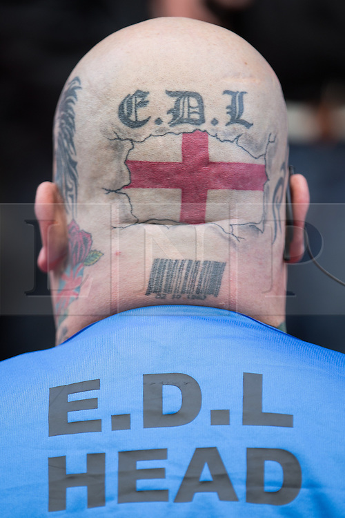 © Licensed to London News Pictures . 07/03/2015 . Manchester , UK . E.D.L Head . The EDL hold a march and demonstration in Manchester . Photo credit : Joel Goodman/LNP