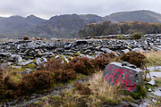 """Surrounded by wasted slate, painted graffiti in red that says """"Cymru am byth"""" (Wales Forever) has been painted on a boulder in the Welsh language, on 3rd October 2021, in Blaenau Ffestiniog, Gwynedd, Wales. The derelict slate mines around Blaenau Ffestiniog in north Wales were awarded UNESCO World Heritage status in 2021. The industry's heyday was the 1890s when the Welsh slate industry employed approximately 17,000 workers, producing almost 500,000 tonnes of slate a year, around a third of all roofing slate used in the world in the late 19th century. Only 10% of slate was ever of good enough quality and the surrounding mountains now have slate waste and the ruined remains of machinery, workshops and shelters have changed the landscape for square miles."""