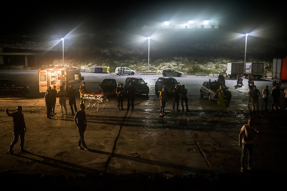 June 29th, 2017, Central Mediterranean. Arrival to the port of Lampedusa. Evacuation of Samuel Osei, a 36-year-old man from Ghana severely sick after being rescued in the sea. NGO Proactiva Open Arms in their 20th rescue mission in the Central Mediterranean Sea on board of Golfo Azzurro vessel (photo Edu Bayer)