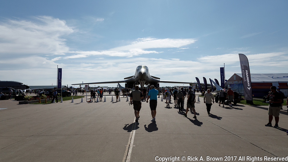 View entering front gate at Airventure 2017 with B-1B Lancer just inside the gate.