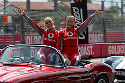 October 21, 2018 - Gold Coast, QLD, U.S. - GOLD COAST, QLD - OCTOBER 21: Vodafone girls during the parade lap at The 2018 Vodafone Supercar Gold Coast 600 in Queensland, Australia. (Photo by Speed Media/Icon Sportswire) (Credit Image: © Speed Media/Icon SMI via ZUMA Press)