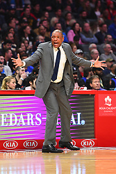 March 8, 2019 - Los Angeles, CA, U.S. - LOS ANGELES, CA - MARCH 08: Los Angeles Clippers Head Coach Doc Rivers reacts to a call during a NBA game between the Oklahoma City Thunder and the Los Angeles Clippers on March 8, 2019 at STAPLES Center in Los Angeles, CA. (Photo by Brian Rothmuller/Icon Sportswire) (Credit Image: © Brian Rothmuller/Icon SMI via ZUMA Press)