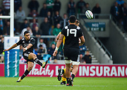 New Zealand fly-half Stephen Perofeta puts up a clearance kick during the World Rugby U20 Championship 5rd Place play-off  match Australia U20 -V- New Zealand U20 at The AJ Bell Stadium, Salford, Greater Manchester, England on Saturday, June  25  2016.(Steve Flynn/Image of Sport)