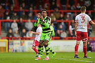 Forest Green Rovers Reece Brown(10) heads wide during the EFL Sky Bet League 2 match between Stevenage and Forest Green Rovers at the Lamex Stadium, Stevenage, England on 21 October 2017. Photo by Adam Rivers.