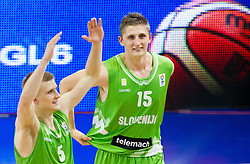 Luka Rupnik of Slovenia and Gezim Morina of Slovenia celebrate after winning the basketball match between National teams of Turkey and Slovenia in Qualifying Round of U20 Men European Championship Slovenia 2012, on July 17, 2012 in Domzale, Slovenia. Slovenia defeated Turkey 72-71 in last second of the game. (Photo by Vid Ponikvar / Sportida.com)