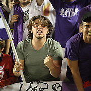 Orlando City Lions soccer fans celebrate during a United Soccer League Pro soccer match between the Richmond Kickers and the Orlando City Lions at the Florida Citrus Bowl on May 25, 2011 in Orlando, Florida.  (AP Photo/Alex Menendez)