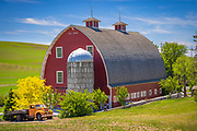 Old barn building in the agricultural Palouse area of eastern Washington state. The Palouse is a region of the northwestern United States, encompassing parts of southeastern Washington, north central Idaho and, in some definitions, extending south into northeast Oregon. It is a major agricultural area, primarily producing wheat and legumes.