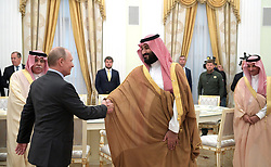 June 14, 2018 - Moscow, Russia - June 14, 2018. - Russia, Moscow. - Russian President Vladimir Putin and Saudi Crown Prince, Second Deputy Prime Minister and Defense Minister Mohammad bin Salman Al Saud (right) during a meeting. (Credit Image: © Russian Look via ZUMA Wire)