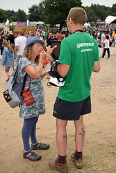 Latitude Festival 2017, Henham Park, Suffolk, UK. Greenpeace campaigner