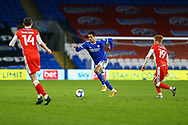 Cardiff City's Robert Glatzel (9) dribbles forward during the EFL Sky Bet Championship match between Cardiff City and Millwall at the Cardiff City Stadium, Cardiff, Wales on 30 January 2021.