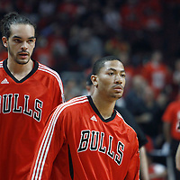 10 May 2011: Chicago Bulls center Joakim Noah (13) and Chicago Bulls point guard Derrick Rose (1) are seen prior to the Chicago Bulls 95-83 victory over the Atlanta Hawks, during game 5 of the Eastern Conference semi finals at the United Center, Chicago, Illinois, USA.