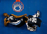 TP_284605_CASS_NCAA_56<br /> CAPTION: (TAMPA, 03-21-2008)--NCAA First Round Division I Men's Basketball Championship--Villanova vs. Clemson--second half action--Villanova's # # 0 forward Antonio Pena lies in pain after being injured. Teammate # 20 forward Shane Clark leans over him.<br /> BRIAN CASSELLA | Times