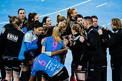 Players of RK Krim during handball match between RK Krim Mercator (SLO) vs Metz Handball  (FRA) in DELO EHF Women's Champions League 2020/21, on January 16, 2021 in SRC Stozice, Ljubljana, Slovenia. Photo by Grega Valancic / Sportida