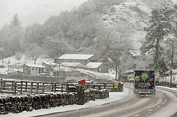 © Licensed to London News Pictures. 29/01/2019. Snowdonia, Conwy, Wales, UK. Heavy snow on the A5 road at Capel Curig, Snowdonia National Park, Conwy, Wales, UK. credit: Graham M. Lawrence/LNP