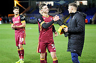 Bradford City midfielder Luca Colville (36)  celebrates after  the The FA Cup 2nd round match between Peterborough United and Bradford City at London Road, Peterborough, England on 1 December 2018.