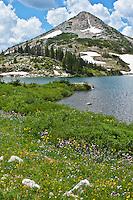 Lewis Lake below 11,398 ft. Sugarloaf Mountain of the Snowy Range.  Medicine Bow Mountains, Wyoming.