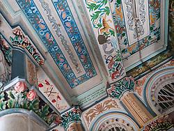 Ornate painted ceiling at Jain Temple, Mumbai