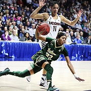 Shalet Springfield, USF, is fouled by Kia Nurse, UConn during the UConn Huskies Vs USF Bulls 2016 American Athletic Conference Championships Final. Mohegan Sun Arena, Uncasville, Connecticut, USA. 7th March 2016. Photo Tim Clayton