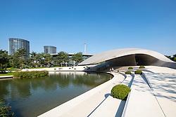 Exterior of futuristic Porsche Pavilion at Volkswagen's Autostadt in Wolfsburg , Germany