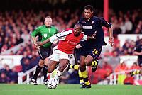 Sylvian Wiltord (Arsenal) Tahar El-Khalej (Southampton). Arsenal 1: 0 Southampton, F.A.Carling Premiership, 2/12/2000. Credit Colorsport / Matthew Impey.
