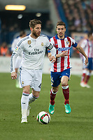 Atletico de Madrid's Gabriel Fernandez and Real Madrid's Sergio Ramos during 2014-15 Spanish King Cup match at Vicente Calderon stadium in Madrid, Spain. January 07, 2015. (ALTERPHOTOS/Luis Fernandez)