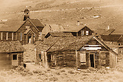 Weathered buildings in the ghost town of Bodie, Bodie State Historic Park, California USA